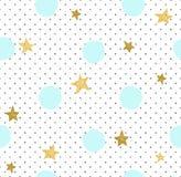 Hand dragen idérik bakgrund Enkel minimalistic sömlös modell med guld- stjärnor och blåttcirklar royaltyfri illustrationer