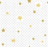 Hand dragen idérik bakgrund Enkel minimalistic sömlös modell med guld- stjärnor och prickar Universell design stock illustrationer