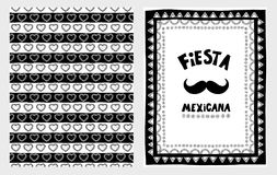 Hand dragen Illustartions för FiestaMexicana vektor uppsättning Enkel barn- design för vit och för svart stock illustrationer