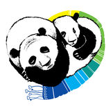 Hand dragen illustration av att sova pandan Arkivbilder