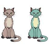 Hand dragen illustration av en katt - brunt för 2 färgval och gr royaltyfri illustrationer