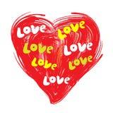 Hand-dragen illustration av hjärta med inskriftförälskelse, klotter, vektor Arkivbild