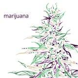 Hand dragen illustration av marijuana royaltyfri illustrationer