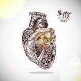 Hand dragen illustration av mekanisk hjärta Arkivfoto