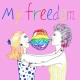Hand dragen illustration av romantiska lesbiska par stock illustrationer