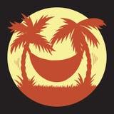 Hand dragen illustration av sommarsemestern på tropisk gul och orange kontursolnedgång för strand med palmträd och hängmattan stock illustrationer