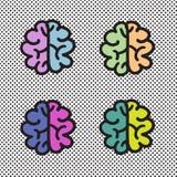 Hand dragen illustration för hjärnuppsättningsymbol Arkivbilder