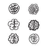 Hand dragen illustration för hjärnuppsättningsymbol Fotografering för Bildbyråer