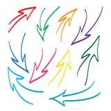 Hand dragen illustration för pilvektoruppsättning Arkivfoto