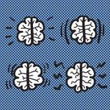 Hand dragen illustration för symbol för hjärnuppsättningvektor Arkivfoto