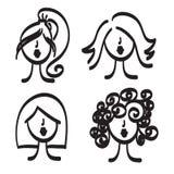 Hand dragen illustration för symbol för modellkvinnavektor Royaltyfria Foton