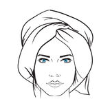 Hand dragen illustration för symbol för modellkvinnavektor Royaltyfri Bild