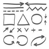 Hand dragen illustration för symbol för pilvektoruppsättning Fotografering för Bildbyråer