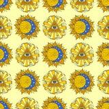 Hand dragen illustration för vektor för stjärna för bakgrund för modell för gul mystiker för solplanet esoterisk ockult sömlös vektor illustrationer