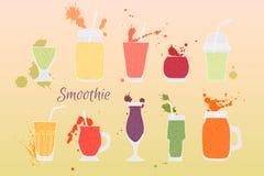 Hand dragen illustration med färgstänk av fruktsaft Royaltyfria Bilder