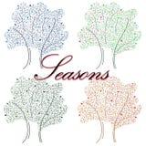 Hand-dragen illustration med säsonger stock illustrationer