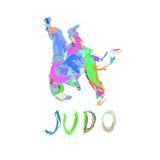 Hand dragen isolerad vektor för judokast Arkivfoto