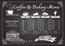 Hand dragen kaffemeny på den svart tavlan royaltyfri illustrationer