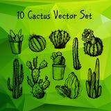 Hand dragen kaktusuppsättning royaltyfri illustrationer