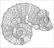 Hand dragen klotteröversiktskameleont royaltyfri illustrationer