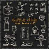 Hand dragen klottercoffee shopuppsättning Royaltyfria Foton