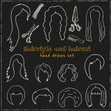 Hand dragen klotterfrisyr och frisyruppsättning Arkivfoto