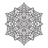Hand-dragen klottersnöflinga Zentangle mandalastil Arkivfoton