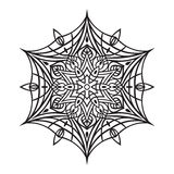 Hand-dragen klottersnöflinga Zentangle mandalastil Royaltyfri Fotografi
