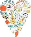 Hand dragen klotteruppsättning av hobbyer och sportsaker dragit i formen av en hjärta Arkivfoton