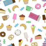 Hand-dragen klotteruppsättning av sötsaker Royaltyfria Bilder