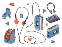 Hand dragen klotteruppsättning av tonåriga beståndsdelar som isoleras på vit bakgrund Retro ljudsignal spelare, kassett, hörlurar Arkivfoton
