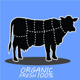Hand dragen ko för lantgårddjur Organiska nya mjölkar bokstäver Arkivfoton