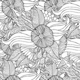 Hand dragen konstnärlig etnisk dekorativ mönstrad blom- ram i klotterstil för vuxna färgläggningsidor Fotografering för Bildbyråer