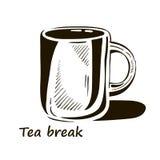 Hand dragen kopp te med skugga stock illustrationer