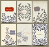 Hand dragen kortsamling med den blom- beståndsdelen Royaltyfria Foton