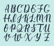 Hand dragen latinsk kalligrafiborsteskrift av versalar Calligraphic alfabet vektor royaltyfri illustrationer
