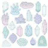 Hand dragen linje kristall, mineral, ädelsten royaltyfri illustrationer