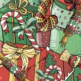 Hand-dragen ljus nytt år och julmodell vektor illustrationer