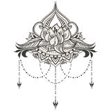 Hand-dragen lotusblomma i östlig stil Royaltyfria Bilder