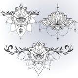 Hand-dragen lotusblomma i östlig stil Arkivfoto