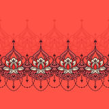 Hand-dragen lotusblomma i östlig stil Fotografering för Bildbyråer