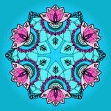 Hand-dragen lotusblomma i östlig stil i mandala Royaltyfria Foton