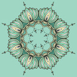 Hand-dragen lotusblomma i östlig stil som är ordnad i en cirkel Royaltyfria Foton