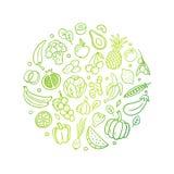 Hand-dragen lutninglinje vektorillustration med frukter och grönsaker Sund mat i en organisk stil för original- klotter vektor illustrationer