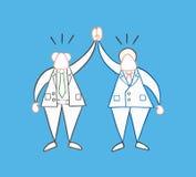 Hand-dragen lycklig aff?rsmanframstickande och arbetare f?r vektor royaltyfri illustrationer