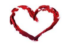 Hand-dragen målad hjärta Stock Illustrationer