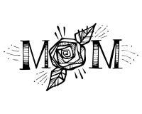 Hand dragen mamma och rosa illustration royaltyfri illustrationer