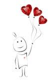 Hand dragen man med hjärta formade ballonger. Vektor Illustrationer