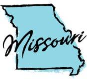 Hand dragen Missouri statdesign stock illustrationer