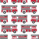 Hand dragen modell för vektor för brandlastbilar sömlös på vit bakgrund royaltyfri illustrationer